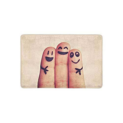 LVOE TTL Happy Fingers con Funny Emoji Felpudo Antideslizante Alfombrilla Interior/Exterior, Alfombrilla de Entrada Alfombra 23.6 X 15.8 Pulgadas