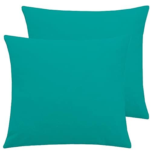 Brit Cotton Einfarbige Kissenbezüge für Sofa / Bett, 35 x 35 cm, Schlafzimmer-Dekoration und Heimdekoration, quadratischer Kissenbezug für Couch (Blaugrün, 2 Stück)