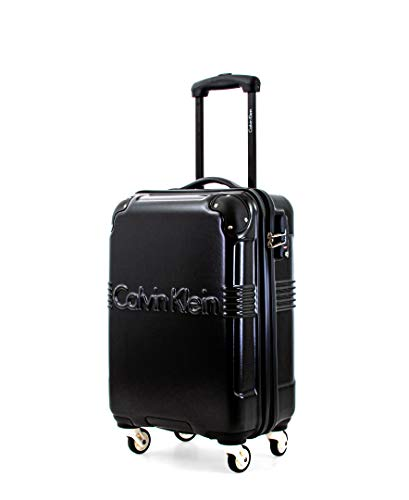 Calvin Klein Delancey Hardside Spinner Luggage with TSA Lock, Black, 20 Inch