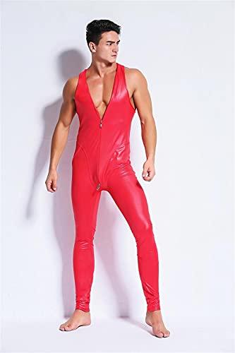 BERMEL Hombres Catsuit Charol Mono Cuerpo Completo Sexy Látex Apariencia mojada Cremallera Club Nocturno Escenario Vestuario (XL,Rojo)