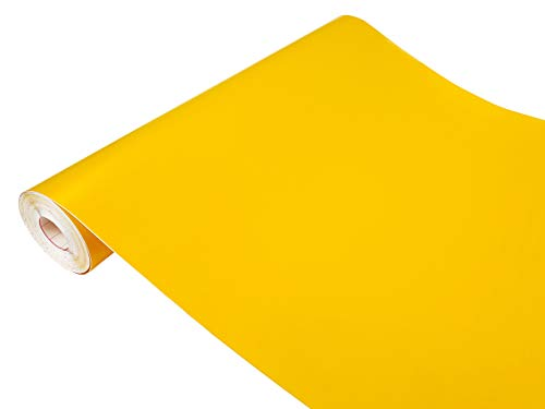 DecoMeister Klebefolien Deko-Folien Selbstklebefolie Möbelfolie Selbstklebend Einfarbig Einheitliche Farbe 45x100 cm Ceylongelb Gelb Matt