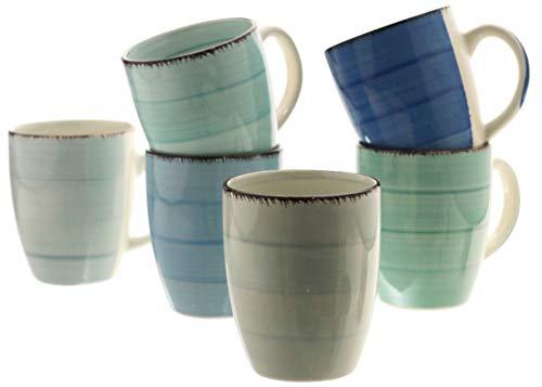 Steingut Serie Baita - Teller/Schalen/Becher zur Auswahl Größe 6 x Kaffeebecher