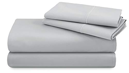TRIDENT 600 Thread Count Full Sheets, 100% Cotton, Sateen Weave, deep Pockets fit Upto 18 inch, Wrinkle Resistant, 4 Piece Sheet Set, Techno-fit, Luxury Hotel Collection (Lunar Rock, Full)