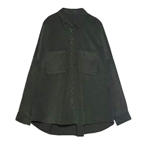 Camisa de pana de gran tamaño para mujer, estilo de novio, camisa de mujer