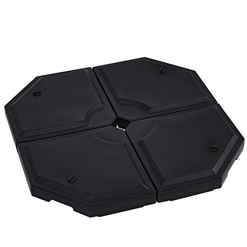 Outsunny Basamento per Ombrellone da Giardino con Base a Croce, Set 4 Mattonelle HDPE Impermeabile da Riempire 96x96x9cm