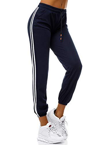 OZONEE Damen Jogginghose Hose Trainingshose Sporthose Freizeithose Motiv Damenhose Fitnesshose Sweatpants Sweathose Fußballhose Joggpants 777/5777S/A4 DUNKELBLAU M