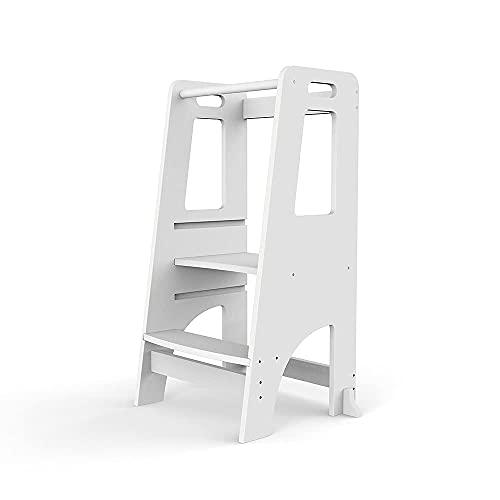 Chostky - Taburete de cocina para niños, mesa de aprendizaje con altura de plataforma ajustable para que los niños puedan estar seguros en el mostrador de cocina y baño (color blanco)