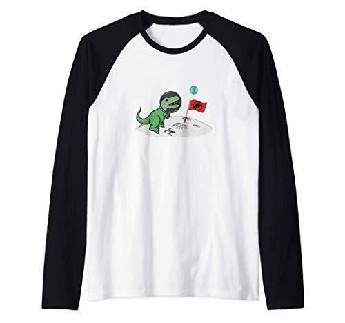 Espacio Dinosaurio Astronauta T-Rex Luna Regalos Niños Camiseta Manga Raglan