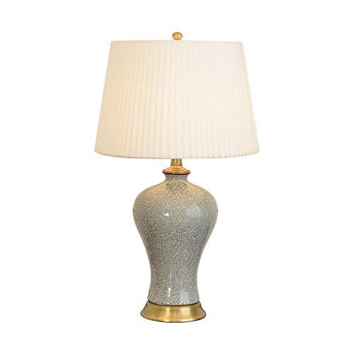 Zhenmu home Estudio clásico Chino de cerámica lámpara de Mesa Completa Cobre Sala de Estar Moderna decoración de Ahorro de energía Dormitorio de Noche grieta lámpara de Mesa