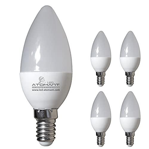 Pack 5x LED Vela C30, 7w. Color Blanco Neutro (4500K). 680 Lumenes, Casquillo fino E14. Equivalente a 60w tradicional.