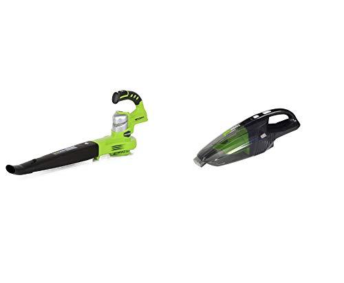 Greenworks 24V Akku-Laubbläser (ohne Akku und Ladegerät) - 2400007+Akku-Handstaubsauger G24HV (Li-Ion 24 V 2 Geschwindigkeitsstufen 2-Filtersystem für Nass- und Trockeneinsatz ohne Akku und Ladegerät)
