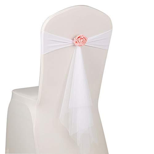 MoGist Organza Stuhl Band Schleife Eleganter Blume Bowknot Stuhlschleifen für Bankett Hochzeit Geburtstagsfeier Hochzeit Requisiten Dekoration (Weiss)