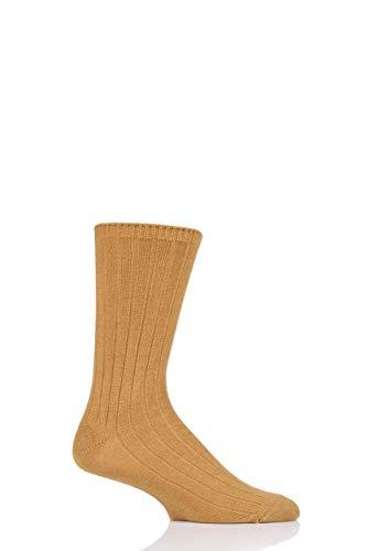 Herren 1 Paar SockShop von London 100prozent Kaschmir-Bett-Socken (Sandsturm, 42-44)