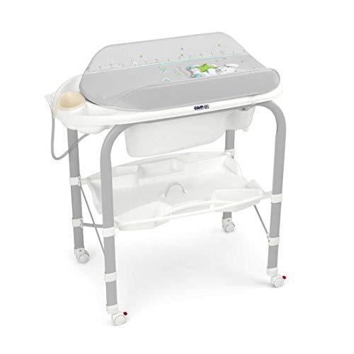 CAM Bade-Wickelkombination CAMBIO | Antikipp-Sicherheitssystem | praktische Ablageflächen | Design Made in Italy | Babybadewanne inkl. Babydusche | Wickelkombination (Kaninchen)