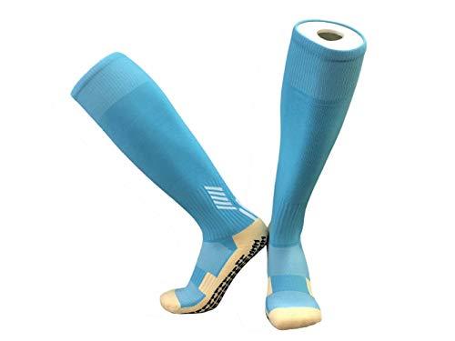 SHUX Calcetines Deportivos Calcetines de Baloncesto de fútbol Calcetines de Goma con Tubo Medio para Hombre Calcetines de Tubo Corto 2 Pares, Tubo Azul Lago