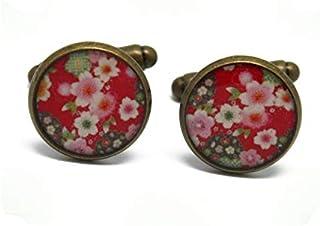 2 gemelli polsino bottoni resina rosso rosa bianco verde fiore ciliegia sakura giappone ottone bronzo regalo personalizzat...