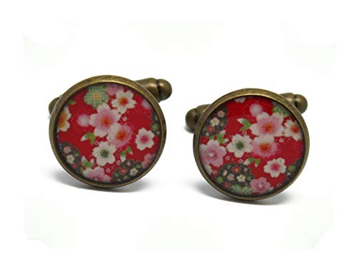 2 gemelli polsino bottoni resina rosso rosa bianco verde fiore ciliegia sakura giappone ottone bronzo regalo personalizzato natale anniversario matrimonio ospite padri giorno uomo maestro