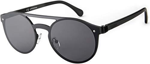 La Optica B.L.M. Herren Sonnenbrille UV400 CAT 3 Damen Pilotenbrille Fliegerbrille Rund Monoglas - Metall Schwarz (Gläser: Grau)