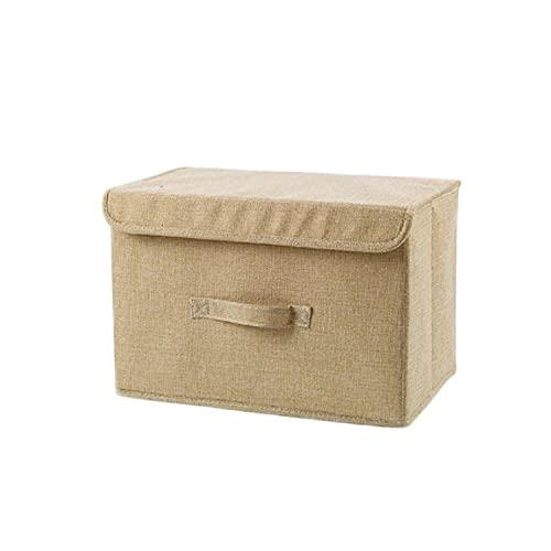 Honton Caja de almacenamiento plegable, cesta de almacenamiento de algodón y lino, resistente al agua y al moho, bolsa de almacenamiento de ropa resistente a la humedad con asa de transporte (beige)