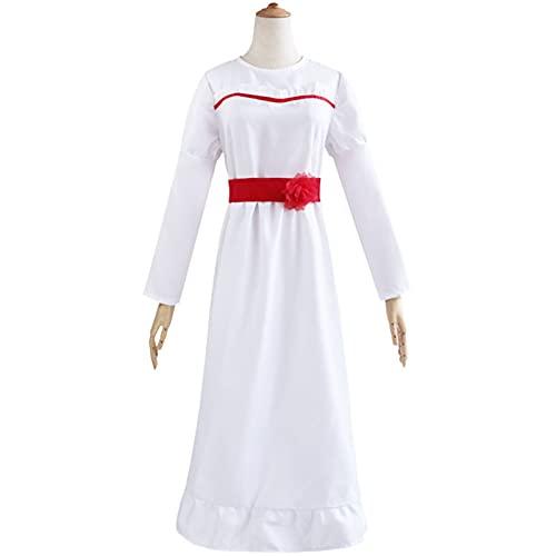 Disfraz de cosplay para niñas y niños ConjingDoll Annabelle Halloween Horror Blanco Vestido Cosplay Disfraz Anime Game Manga Larga O Cuello Mujer Vestidos (Color: Natural, Tamaño: L)