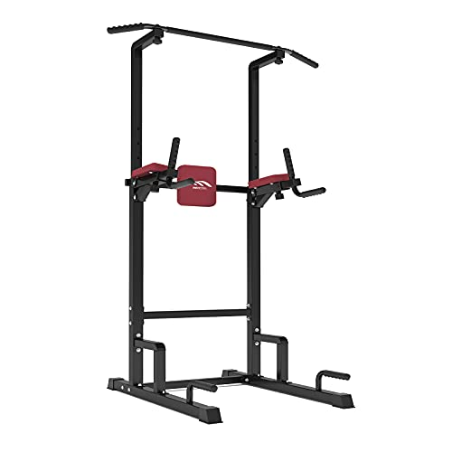 MBH Fitness Power Tower Pull Up Bar Dip Station Strength Training Workout Equipment for Home Gym, Adjustable Height Dip Bar (Black)