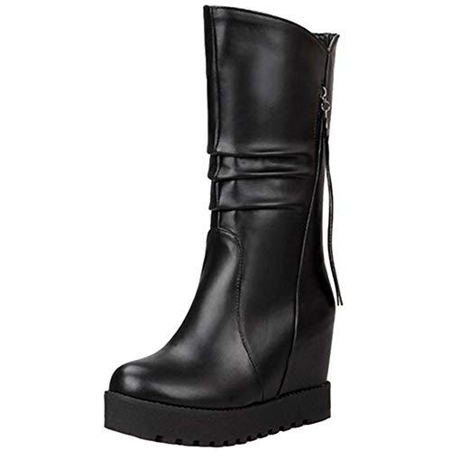CuteHeels Damen Keilabsatz Langschaft Stiefel (Schwarz, 49 EU)