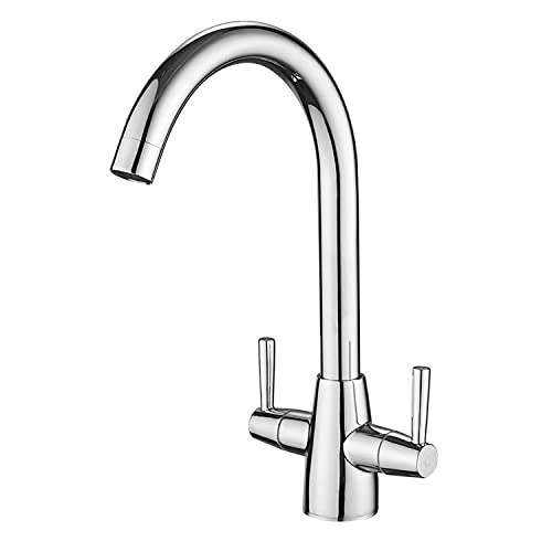 Kitchen Taps Mixer, Sink Mixer Tap 360 Degree Swivel Spout High Arc Monobloc Dual Lever Sink Taps Solid Copper Material Chrome Surface with Brass Mounting Kits Easy to Install