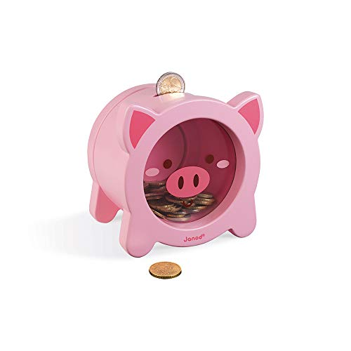 Janod Pink Pig Money Saving Magnetic Piggy STEM Bank for Boys or Girls for 3 Years + (J04653)
