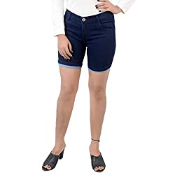 Ajaero Denim Solid Mid Waist Short for Women