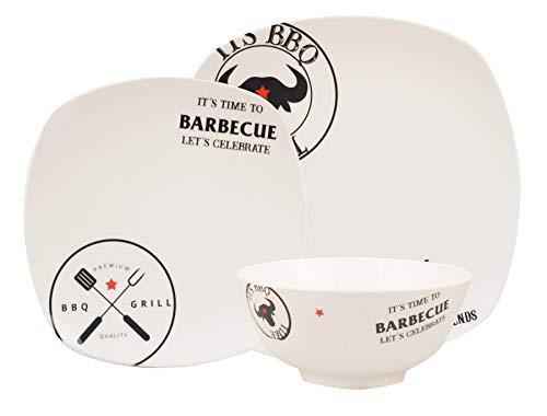 Hekers 100% Melamin-Geschirr Design BBQ Elfenbein weiß/schwarz eckig, wählbar Anzahl Pers. 3-TLG 1P / 6-TLG 2P / 12-TLG 4P / 18-TLG 6P, Camping-Geschirr Teller Picknick-Geschirr Grillset 4Pers