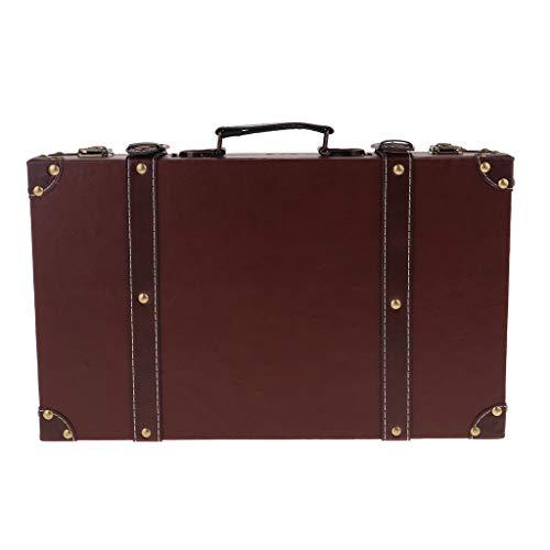 perfk Valise Rétro Coffre en Bois Boîte de Rangement Coffre Trésor Vintage Suitcase Valise en Cuir Bois Style Britannique Décoration Maison - Brown, 40x25x10cm