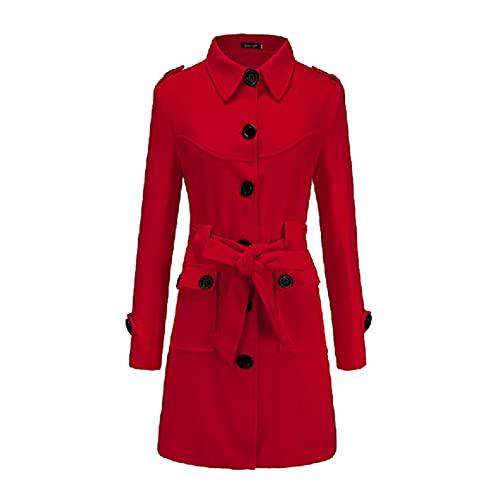 Damen Trenchcoat Winterdicke Jacken Warme Winddicht Jacke Wollmischung Erbsenmäntel Zweireihige Mittellange Mäntel Slim Fit Cabanjacke mit Schulterklappen