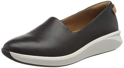 Clarks Damen Un Rio Step Slipper, Grau (Black Leather Black Leather), 40 EU