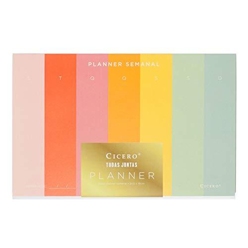 Planner Bloco Todas Juntas, Multicolorido, Semanal, 52 fls, Papel Pólen 80g/m², Tamanho Grande (24, 5x16)