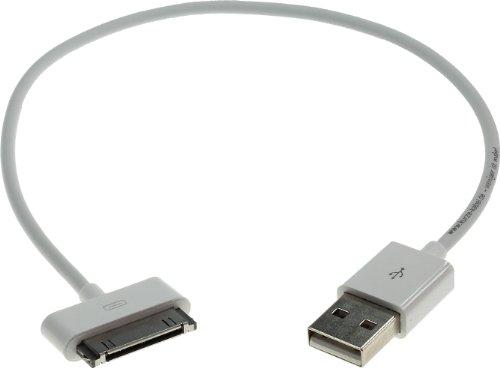 30cm kurzes 30pin USB-Kabel (USB auf DockConnector) Datenkabel | Ladekabel | Sync-Kabel für iPhone 4s | 4 | 3GS | 3G, iPad 3 | 2 | 1 und iPod Touch bis 4. Generation. weiß 0,3m