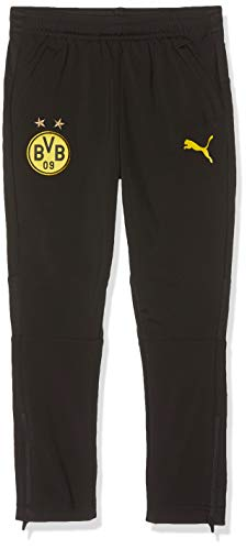 PUMA Kinder BVB Training Pants Jr with zip pockets Trainingshose, Black/Cyber Yellow, 176