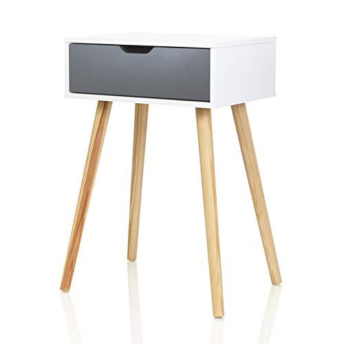 Möbelfreude - Mesita de noche Doluna Tjark con cajón en antracita | blanco con patas de madera maciza | 40 x 30 x 60 cm