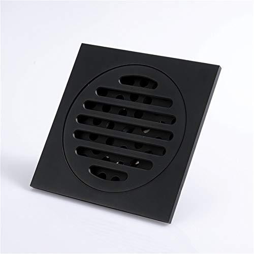 Bodenablauf Schwarz Lackiert 4 Zoll Messing Bad Bodenablauf Flieseneinsatz Platz Duschwanne Ablauffilter Mit Abnehmbarem Bezug für Badezimmer Toilette Küche (Color : Black, Size : 100 * 100MM)