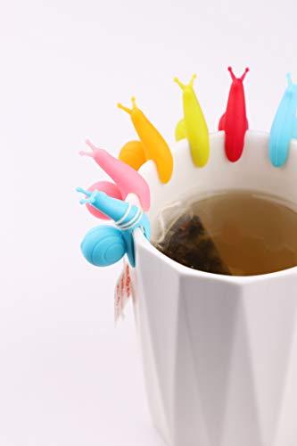 Fanaticism 24er Set süße Schnecke Form Teebeutel Halter, Tasse Glas Deko, 6 farben