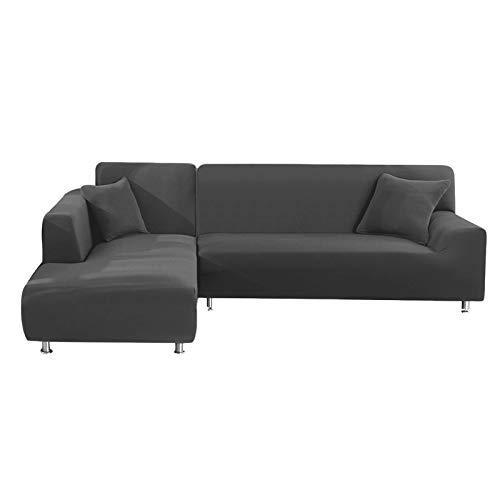 metagio Sofa Überwürfe Sofabezug, 2 Stück Sofaüberwürfe für L-Form Elastische Stretch Sofabezug Sofa Überzug mit 2 Stück Kissenbezug, Couch Bezug Sofaüberwurf(3 Sitzer+3 Sitzer, Grau)(Grau)