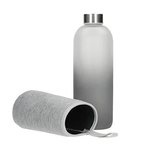 Botella de cristal Iced botella de agua de cristal mate de sodalime con funda de neopreno para llevar bebidas frías y calientes, sin BPA, para viajes, botella de deporte, botella de cristal (1,0 l)
