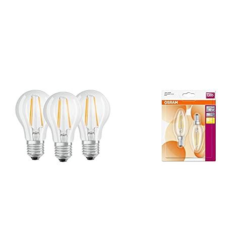 Osram Base Clas A Lampada Led E27, 6.5W = 60 Watt , Bianco (Cool White), 3 Lamp. & Star Classic B, Lampadina A Led, A Forma Di Candela, E14, 4W, Luce Bianca Calda, 10X 3.5X 3.5Cm, 2Unità