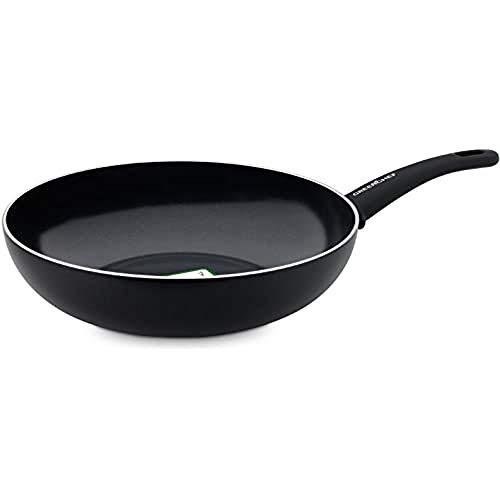 GreenChef Wokpfanne Induktionspfanne Keramik Beschichtet, Toxinfreies Kochen, Ofen- und Spülmaschinengeeignet - 28 cm, Schwarz