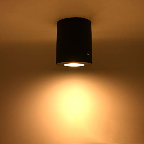Aufbauleuchte Aufbaustrahler Deckenleuchte IP55 Aufputz LED GU10 230V [ rund, Schwarz ] Aufbauspot Deckenlampe Würfelleuchte Inkl. 3,5W Leuchtmittel Warmweiß