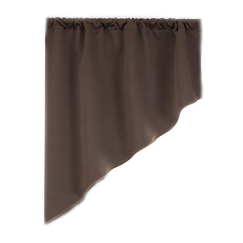 Gjyia Minimalist Triangle Blackout Short Curtain Panel Solid Color Valance Window Tiers Rod Pocket for Bedroom Cafe Kitchen Home Decor