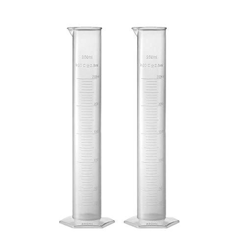 Sourcingmap Messzylinder, 250 ml, für Labormessungen, transparentes Weiß, Kunststoff, Sechskant-Basis, Messzylinder, 2 Stück
