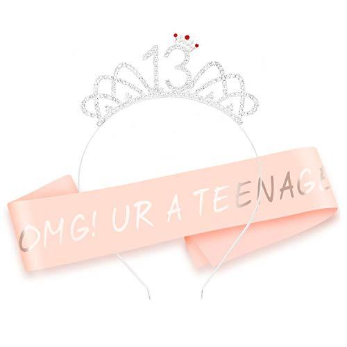 HOWAF Oro Rosa 13 cumpleaños Faja de satén cumpleaños Banda y 13 Diadema Tiara para niña 13 Años cumpleaños Fiesta de Decoración Accesorios Regalo niña