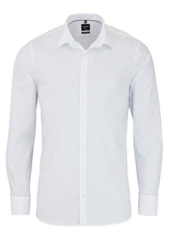 OLYMP No. 6 Six, Super Slim Fit overhemd, wit dubbele manchet Strijkvriendelijk - Maat 40