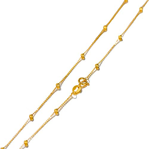 Solid 18k Gold Rosary Bead Ball Chain Necklace for Women, Real Gold Chain Necklace, 18'