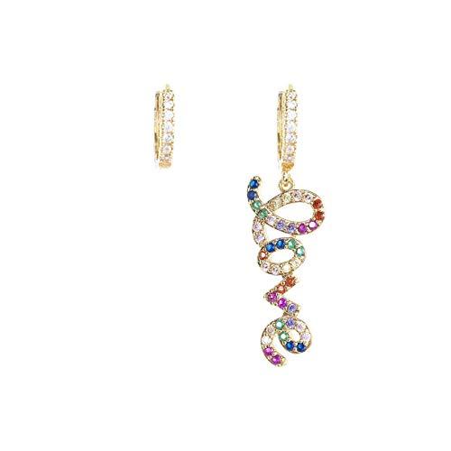 inSCINTILLE Inscantille Sparkling Pop - Pendientes de aro Dorado con inscripción Love Corsivo y Brillantes Arcobaleno
